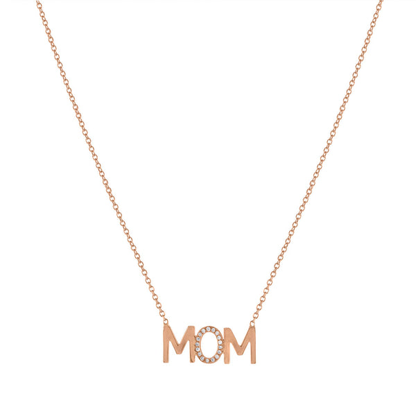 MOM Diamond Accent Mini Nameplate Necklace