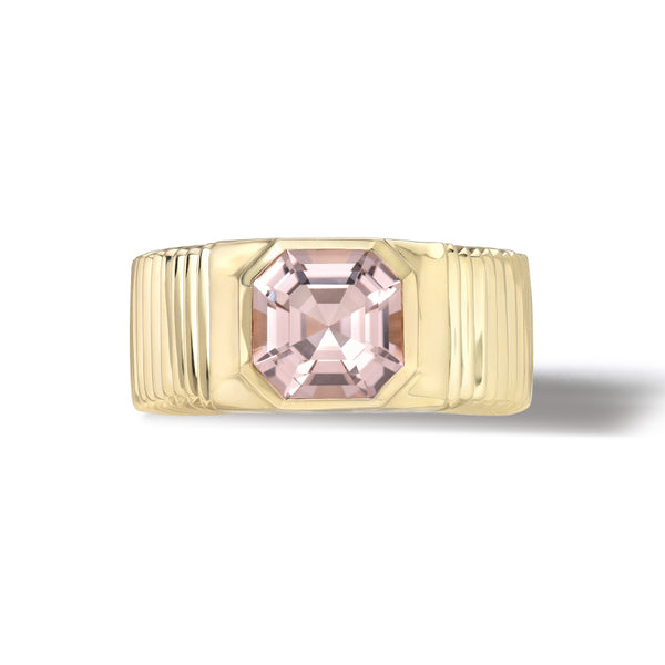 ONE OF A KIND PLEATED SOLITAIRE BAND - ASSCHER CUT MORGANITE