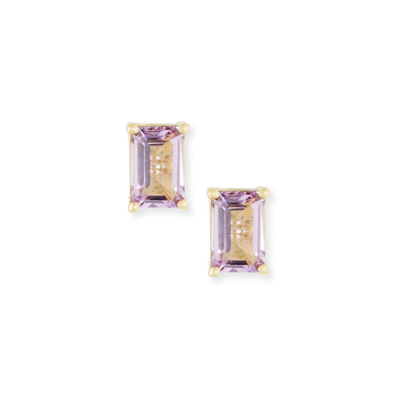 14K EMERALD CUT STUD EARRINGS