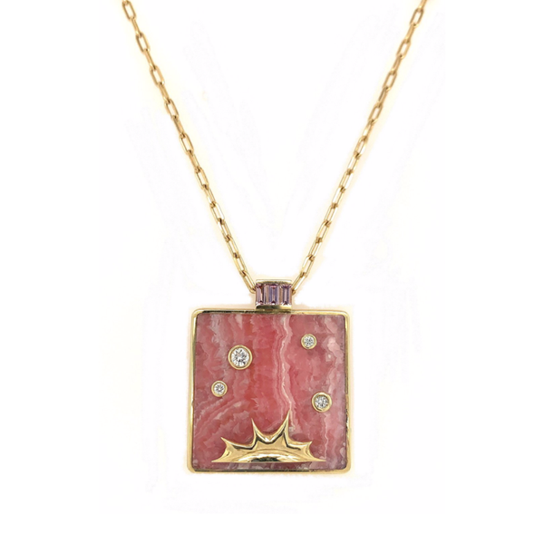 OPTIMISM PENDANT - RHODOCHROSITE WITH LOTUS GARNET