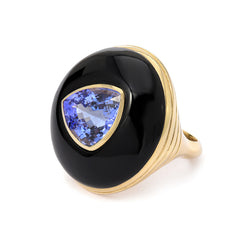 LOLLIPOP RING - TRIANGLE TANZANITE IN ONYX