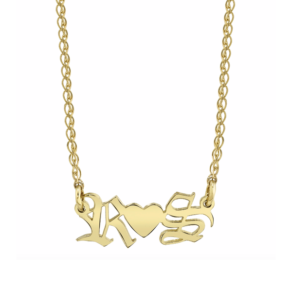 PERSONALIZED OLD ENGLISH NAMEPLATE NECKLACE