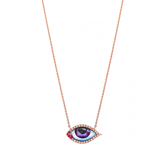 PETIT MAUVE DIAMOND AND RUBY NECKLACE