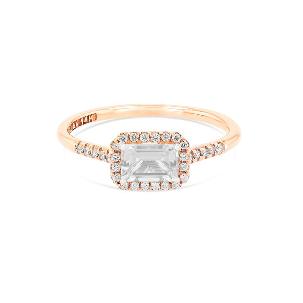 14K ROSE GOLD POSITANO WHITE TOPAZ AND DIAMONDS RING