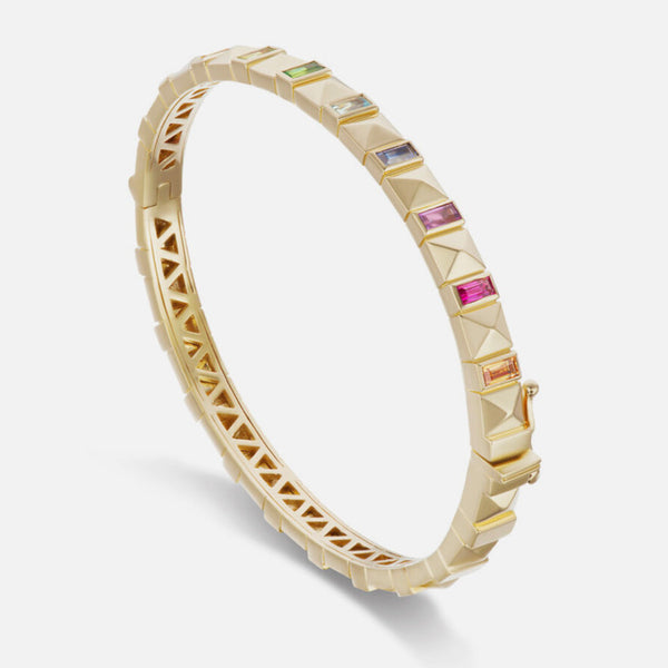 PYRAMID STUD BANGLE - RAINBOW