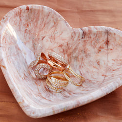 HEART SHAPED PINK ONYX BOWL
