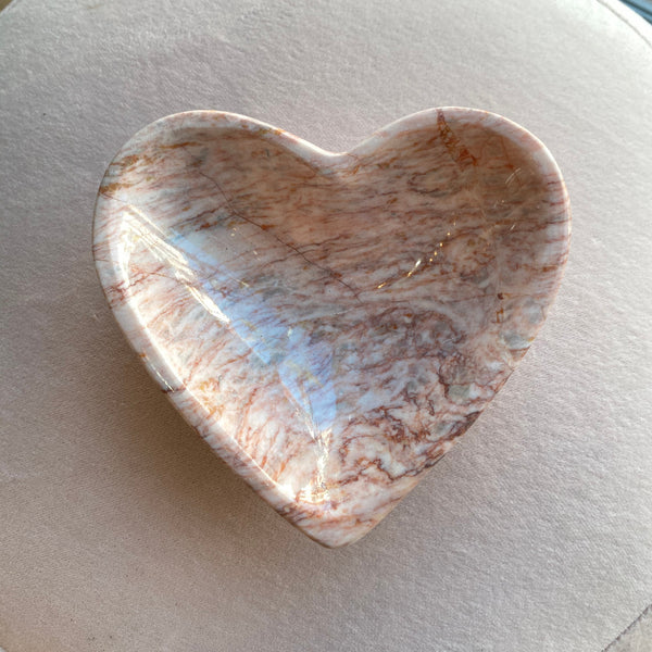 HEART SPAHED PINK ONYX BOWL