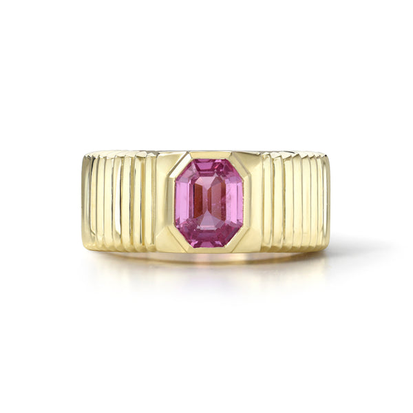 ONE OF A KIND PLEATED SOLITAIRE BAND - EMERALD CUT PINK SAPPHIRE