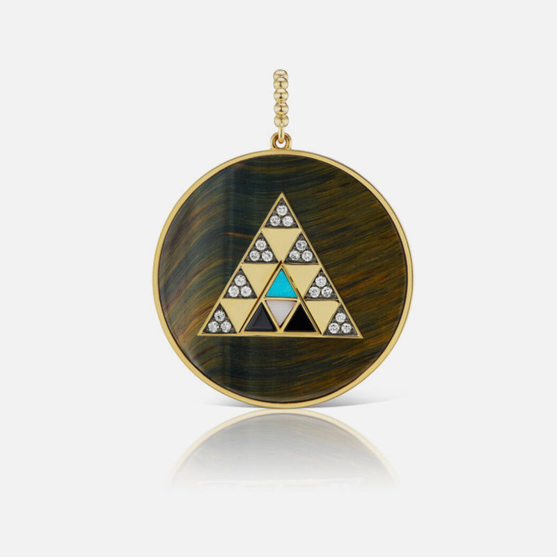 PYRAMID STONE MEDALLION - MOTHER OF PEARL