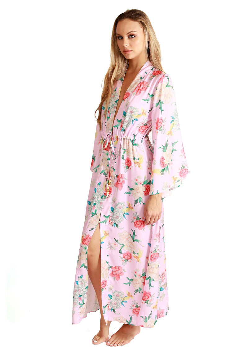 Floral Bell Sleeve Kimono Dress