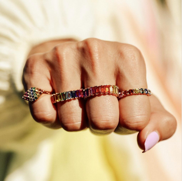RAINBOW GEMMA PINKY RING