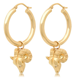 DANGLING RAM HOOP EARRINGS