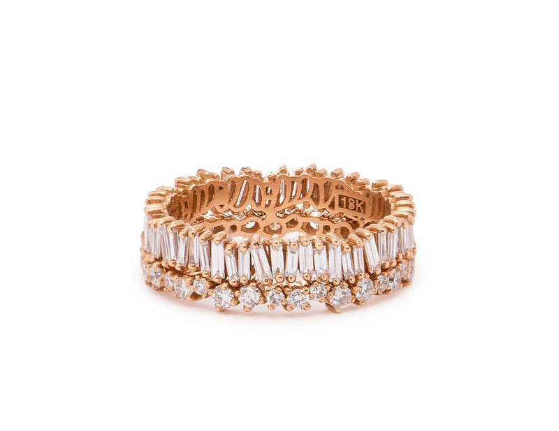 Baguette and Round Two Row Bliss Ring