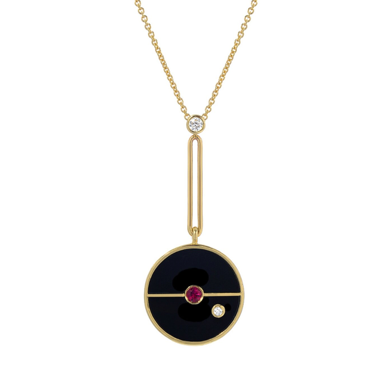 SIGNATURE COMPASS PENDANT - BLACK ONYX WITH RUBY