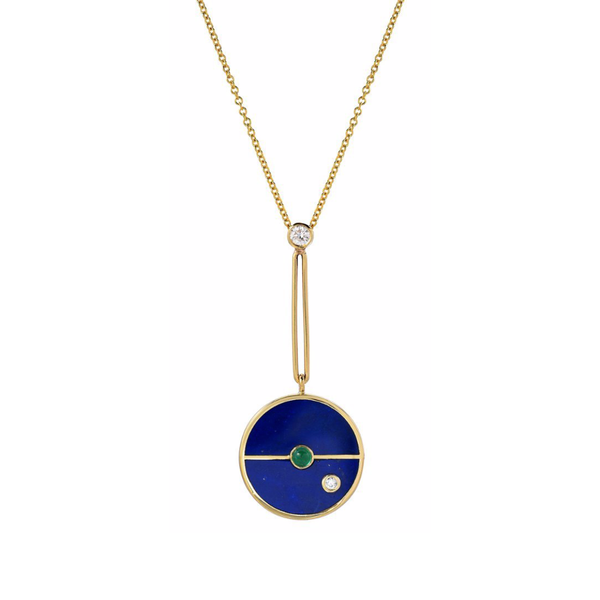 SIGNATURE COMPASS PENDANT - LAPIS WITH EMERALD