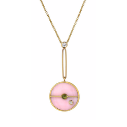 SIGNATURE COMPASS PENDANT - PINK OPAL WITH GREEN TOURMALINE