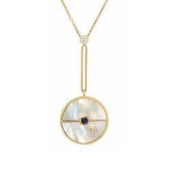SIGNATURE COMPASS PENDANT - MOTHER OF PEARL WITH SAPPHIRE