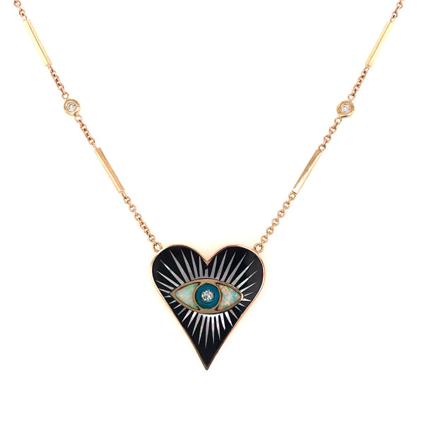SMALL BLACK ONYX INLAY EYE BURST HEART NECKLACE
