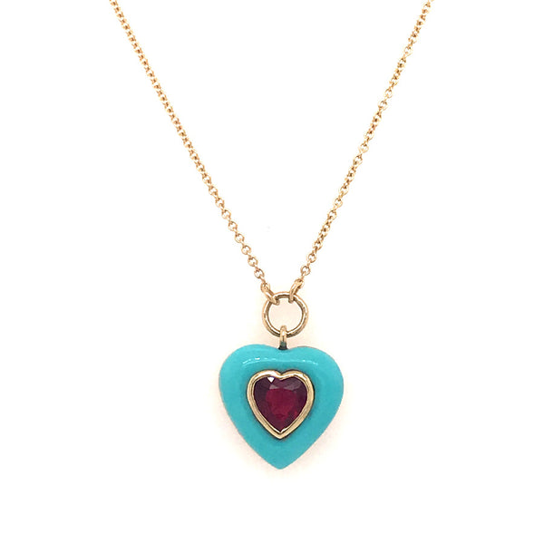 SMALL LOLLIPOP HEART PENDANT - RUBELLITE IN TURQUOISE