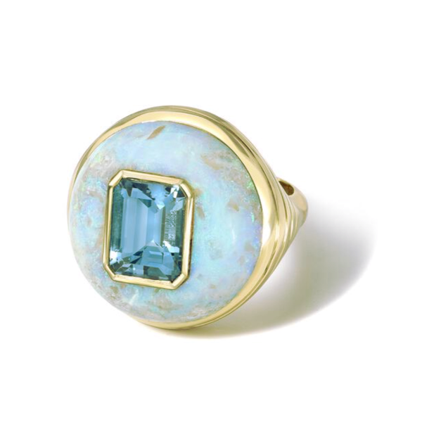SMALL LOLLIPOP RING - AQUAMARINE IN AUSTRALIAN OPAL