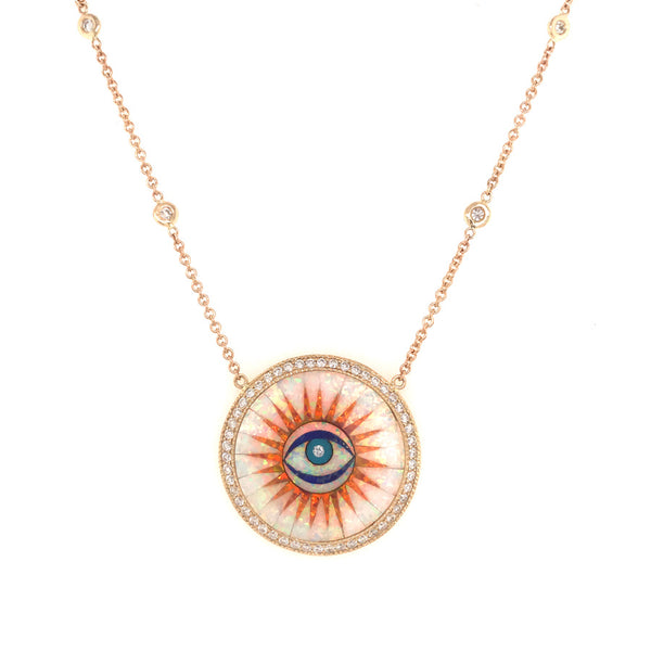 SMALL OPAL INLAY EYE BURST PAVE NECKLACE