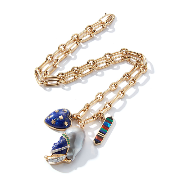 14K Gold Pearl and Lapis Imperial Soldier Charm