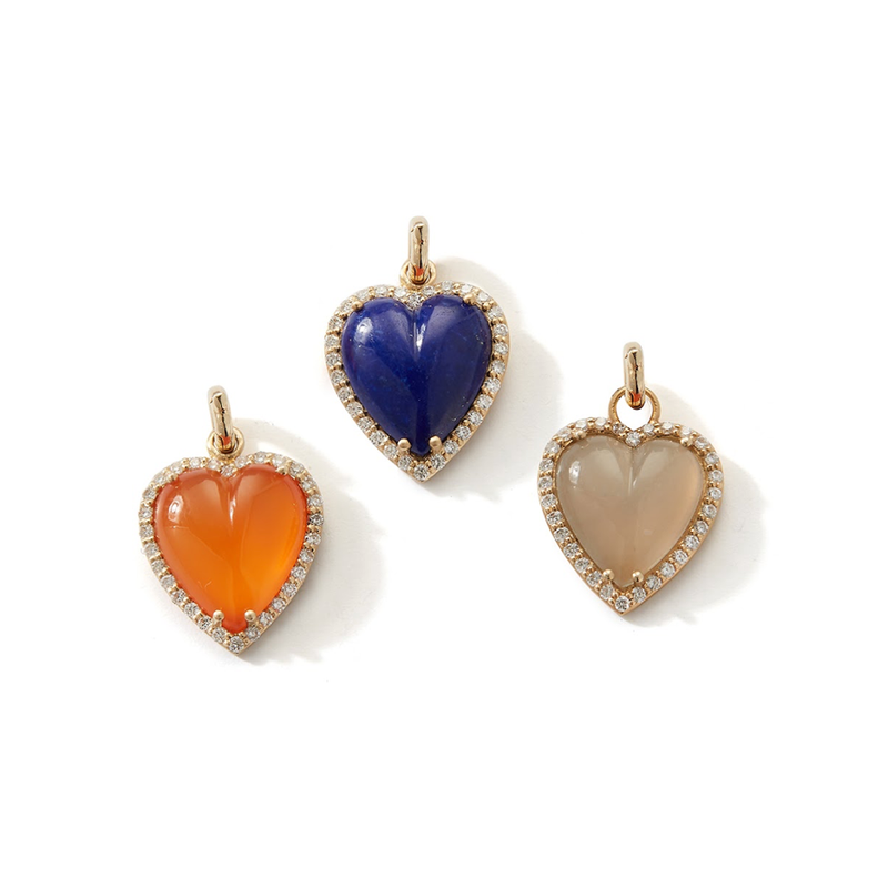 14K Gold and Lapis Heart Charm