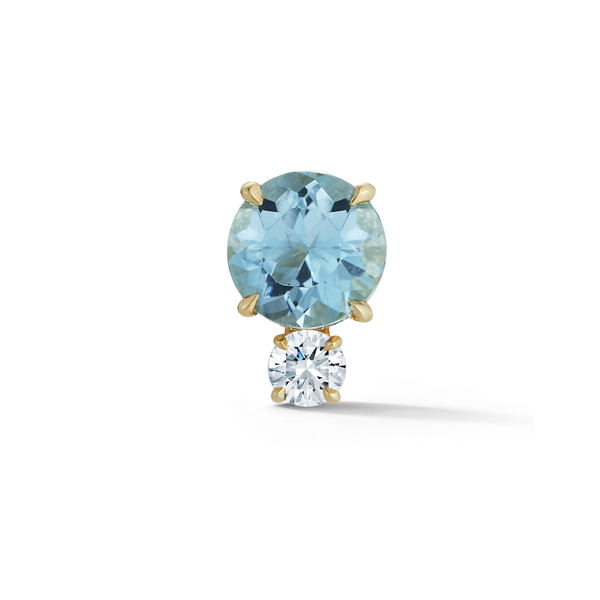 Aquamarine and Diamond Stud