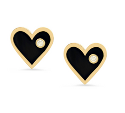 Diamond Enamel Heart Studs