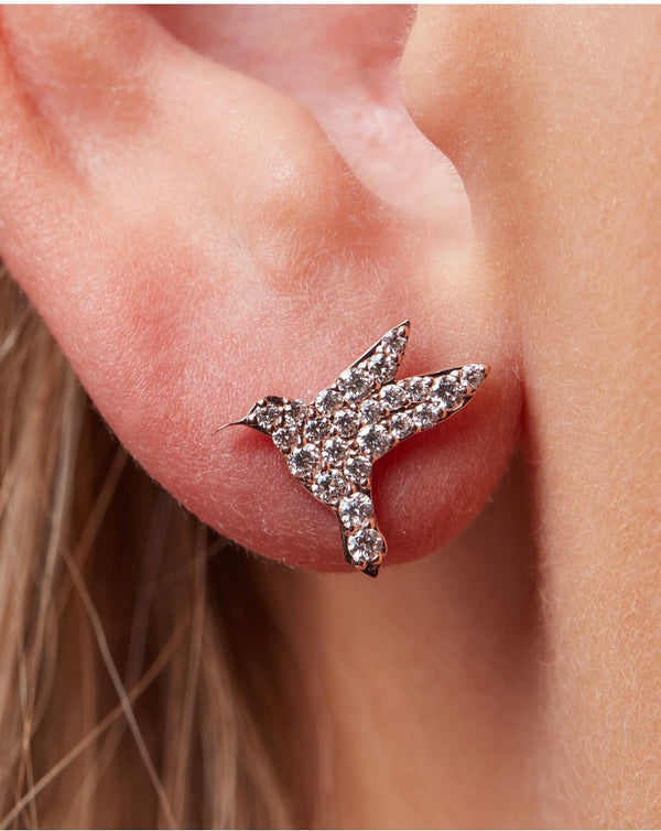 Rose Gold and Diamond Humming Bird Studs