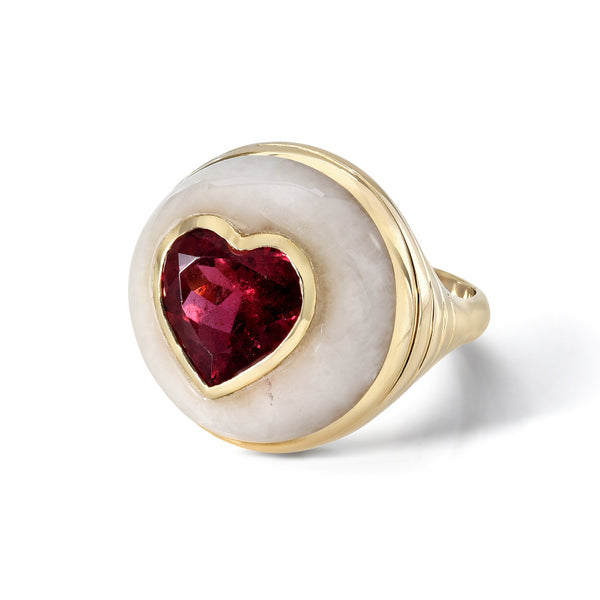 SMALL LOLLIPOP RING - RUBELLITE HEART IN WHITE QUARTZ