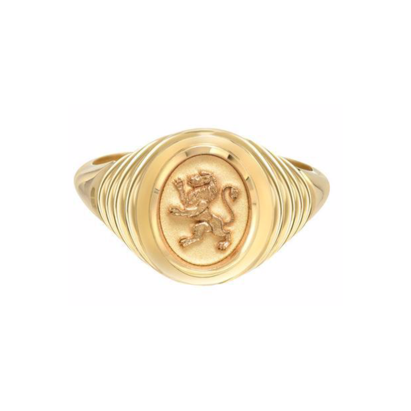 TIERED FANTASY SIGNET - 14K YELLOW GOLD