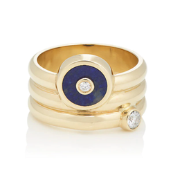 TRIPLE COIL MINI COMPASS RING - LAPIS
