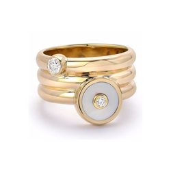 TRIPLE COIL MINI COMPASS RING - MOTHER OF PEARL