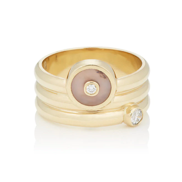 TRIPLE COIL MINI COMPASS RING - PINK OPAL