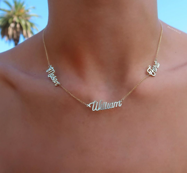 TRIPLE SCRIPT NAME NECKLACE