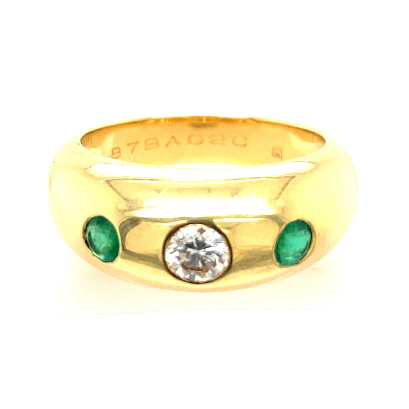 VINTAGE CARTIER DIAMOND AND EMERALD RING