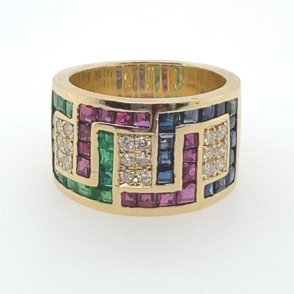 VINTAGE MULTI GEM CALIBRE CUT RING