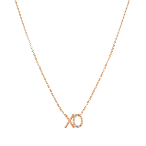 XO Diamond Accent Mini Nameplate Necklace