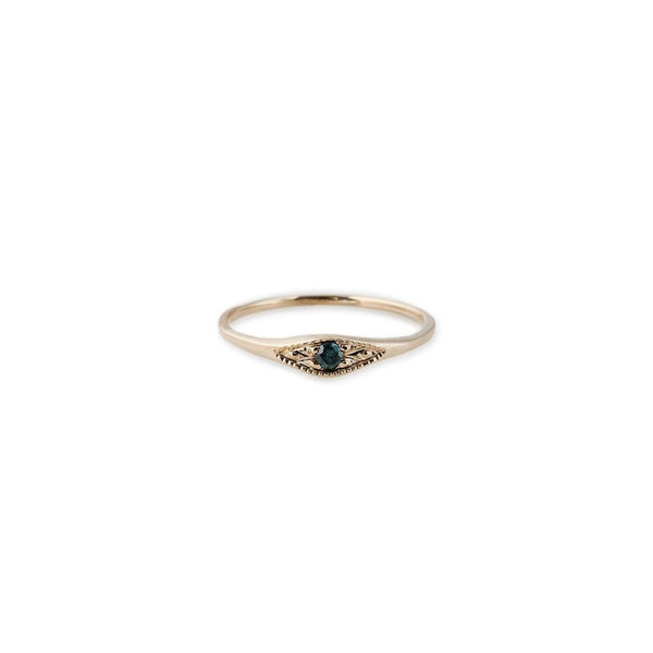 Thin Blue Diamond Eye Stack Ring