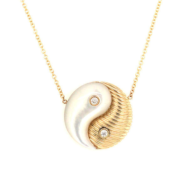 YIN YANG NECKLACE - GOLD & MOTHER OF PEARL