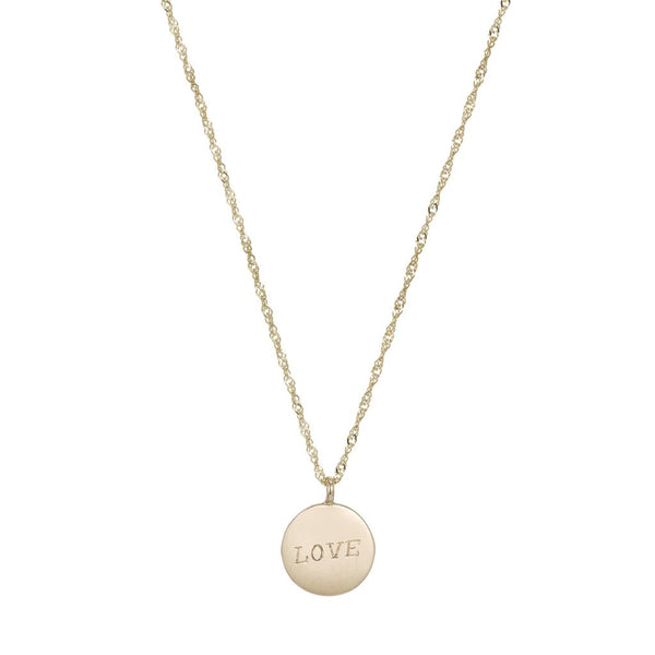 Demi Medallion Signet LOVE Necklace
