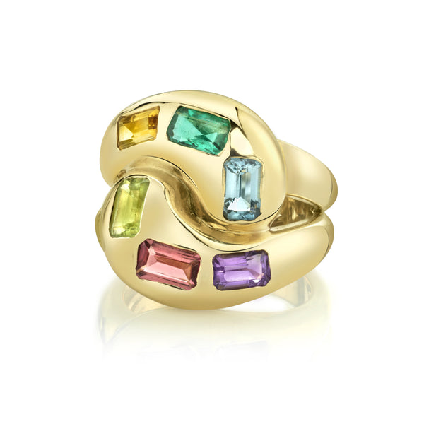 Multi Colored Gemstone Knot Ring