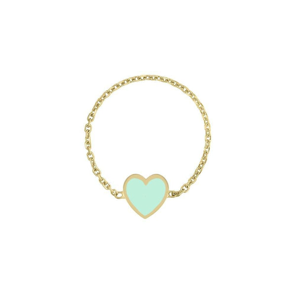 MINI HEART ENAMEL CHAIN RING