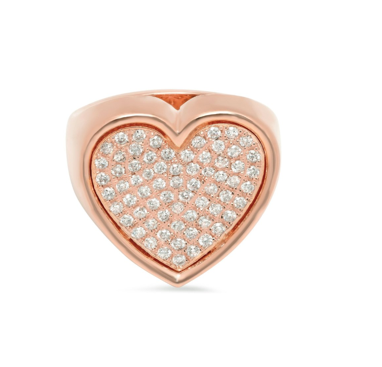 Heart Surface Ring with Diamonds
