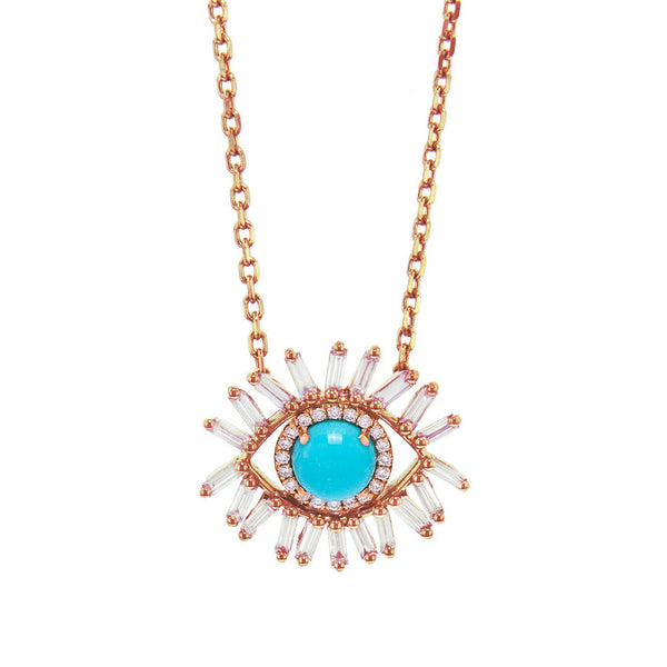 18K ROSE GOLD SMALL EVIL EYE FIREWORKS PENDANT