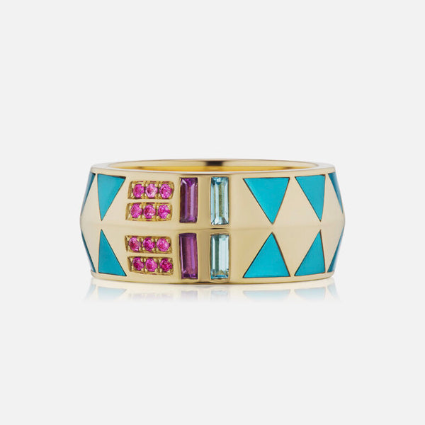 JUJU CIGAR BAND RING - TURQUOISE