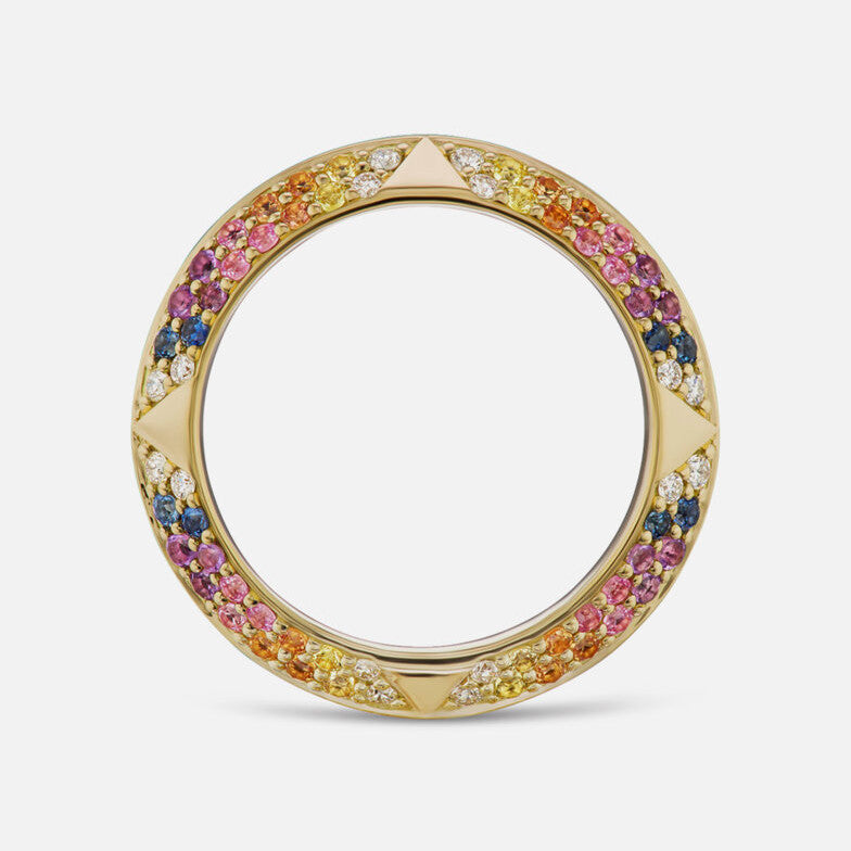 """ROSA"" PAVÉ KNIFE EDGE BAND, MULTICOLOR"