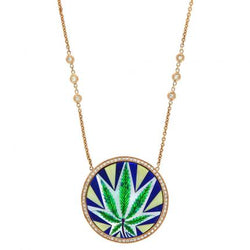 Sweet Leaf Opal Inlay Necklace