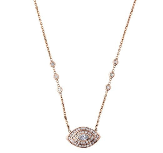 Large Double Halo Marquis Eye Necklace